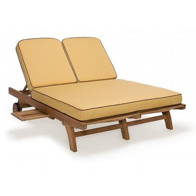 Modern teak patio chaise lounge double ca 50119 cozydays for Chaise longue double exterieur