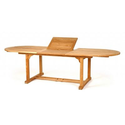 Modern Teak Patio Dining Table Oval Extendable 84-120 CA-50105
