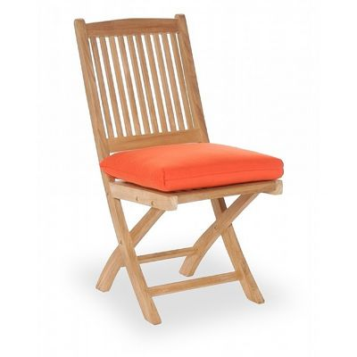 Modern Teak Patio Folding Side Chair With Cushion CA 50180 CozyDays