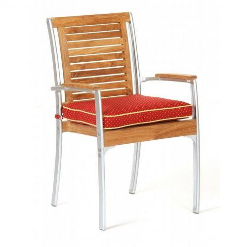 Infinity Teak Aluminum Outdoor Dining Arm Chair