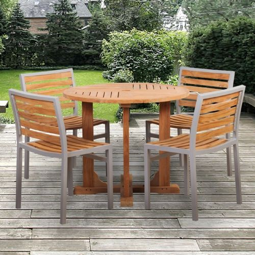 Modern Teak Aluminum Patio Dining Set 5 Piece With 36 Inch