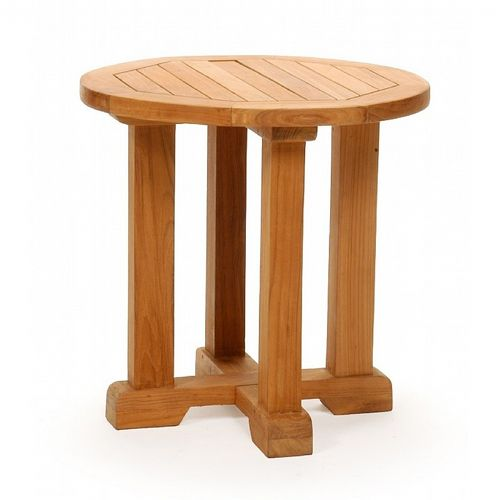 Modern Teak Patio Club Side Table Round 24 Inch