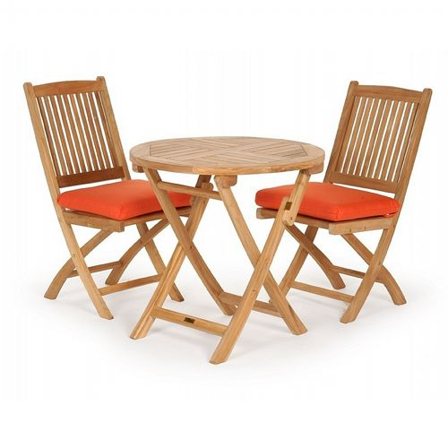 Modern Teak Patio Folding Bistro Set 3 Piece CA 50149SET1
