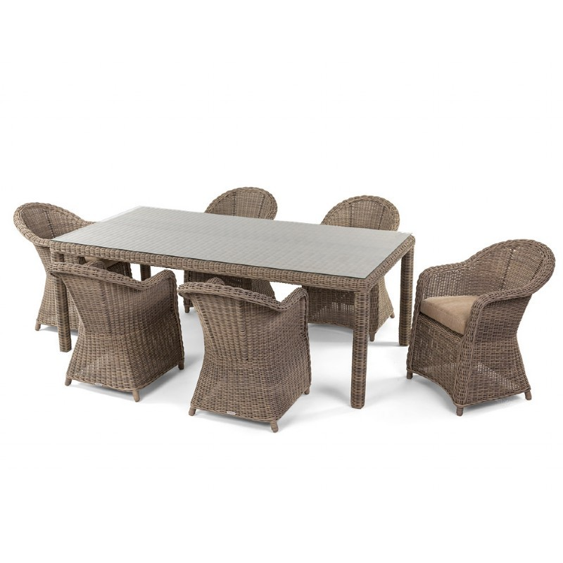 Amelie Traditional Wicker Dining Set 7 Piece