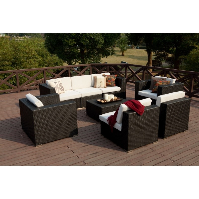 Dijon Modern Patio Conversational Deep Seating Set 8 Piece