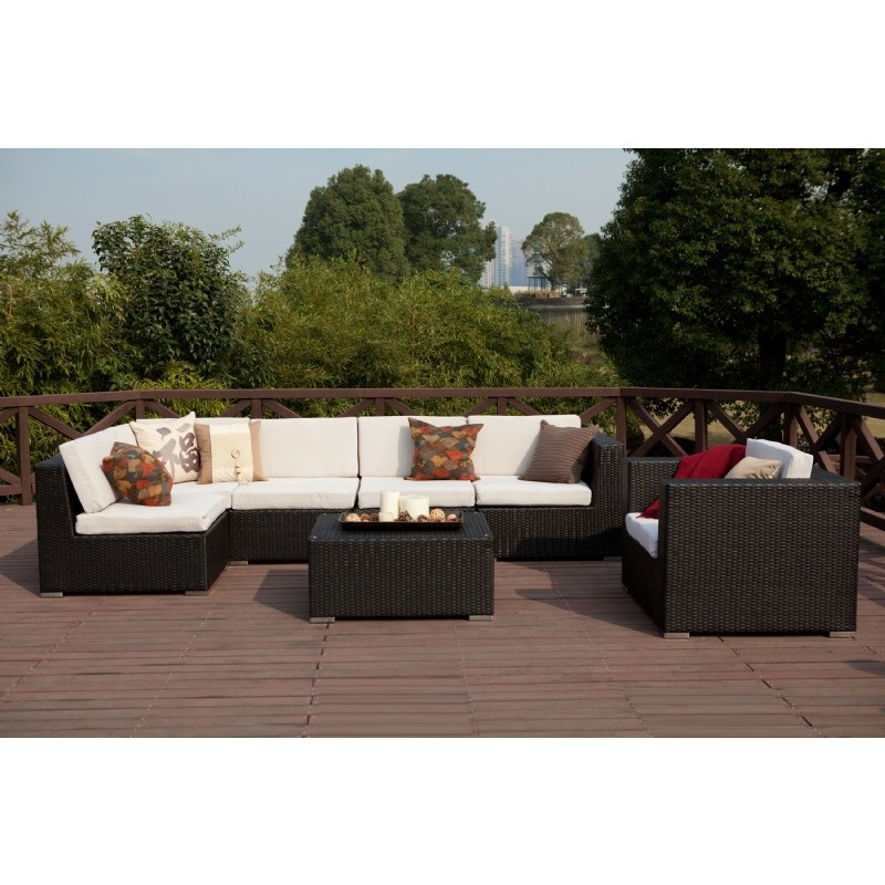 Dijon Modern Patio Sectional Deep Seating Set 8 Piece