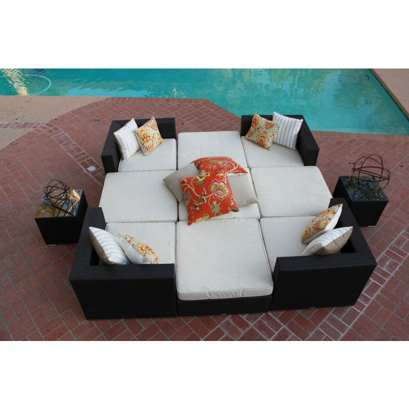 Dijon Modern Patio Sectional Lounge Seating Set 11 Piece