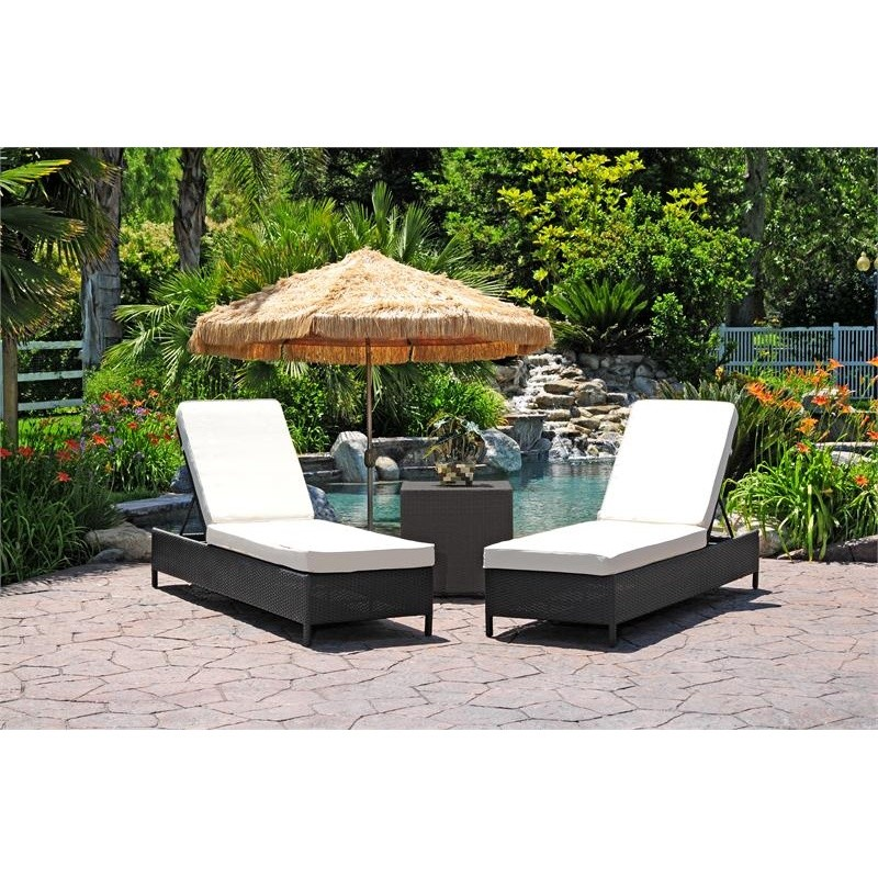 Dijon Modern Patio Chaise Lounge Set 3 Piece