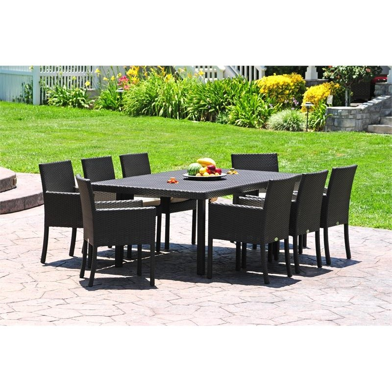Contemporary Outdoor Dining Furniture: Dijon Modern Patio Dining Set 9 Piece