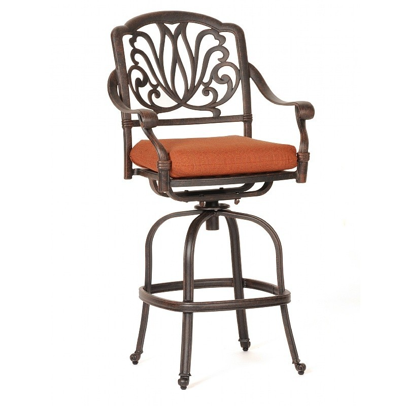 Florence Cast Aluminum Outdoor Swivel Bar Stool CA 777 7 CozyDays