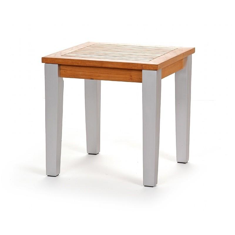 Infinity teak aluminum outdoor side table ca 50313n cozydays for Teak side table outdoor