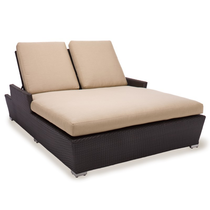 Patio Chaise Lounges: Caluco Maxime All-Weather Wicker Patio Double Chaise Lounge with Cushion