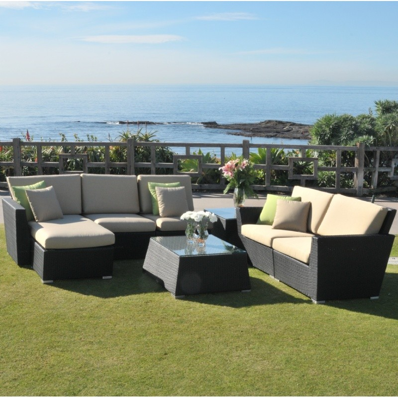 Maxime Wicker Club Sectional Set 7 Piece with Chaise