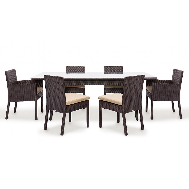 Maxime Wicker Outdoor Dining Set 7 Piece