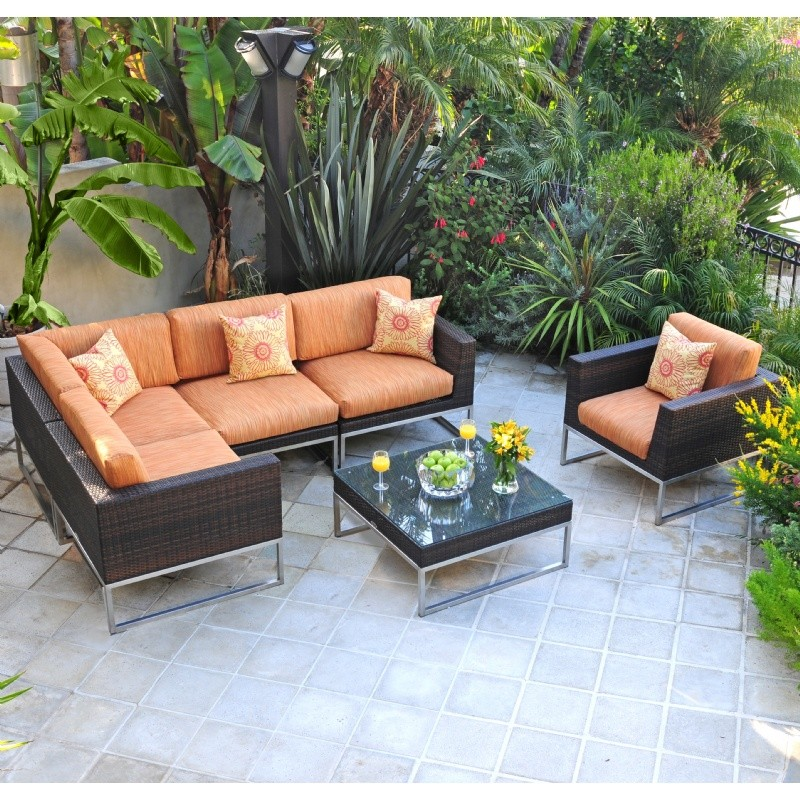 Outdoor Sectional Sets: Mirabella Modern Outdoor Sectional Set 7 piece