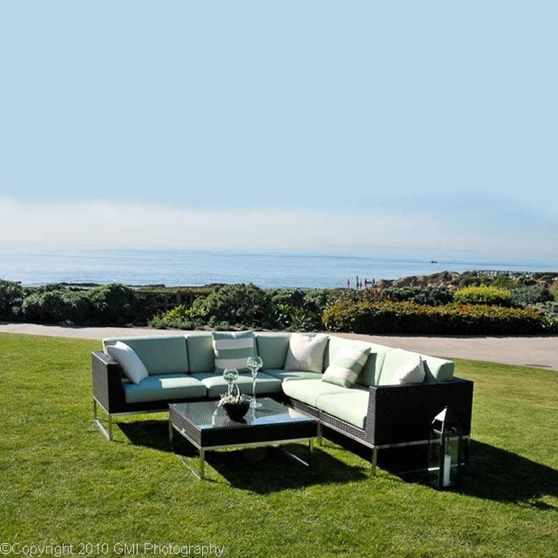Outdoor Furniture: Sectional Outdoor Furniture: Mirabella Modern Outdoor Wicker Club Sectional Set 6 piece