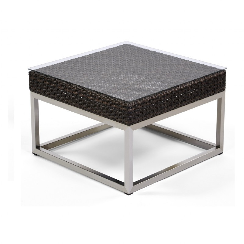 Wicker Coffee Tables, Side Tables: Caluco Mirabella Square Outdoor Wicker Side Table 24 inch
