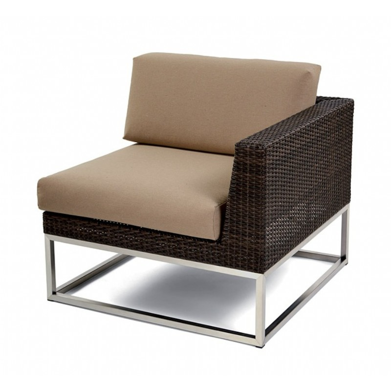Outdoor Furniture: Sectional Outdoor Furniture: Mirabella Modern Wicker Club Sectional Left Module