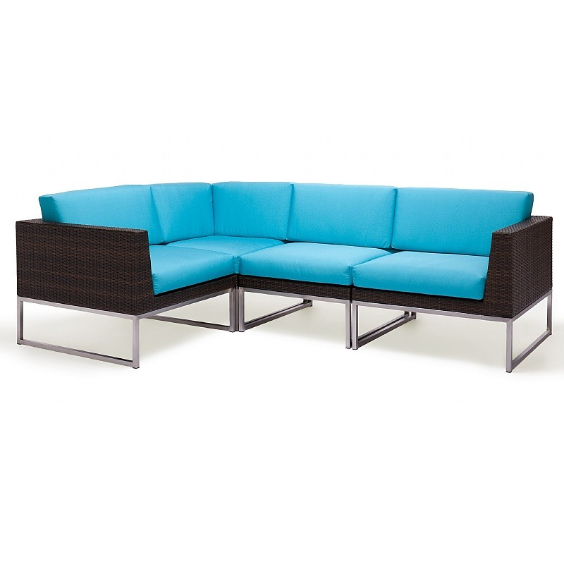 Outdoor Furniture: Sectional Outdoor Furniture: Mirabella Modern Wicker Club Sectional Seating Set 4 piece