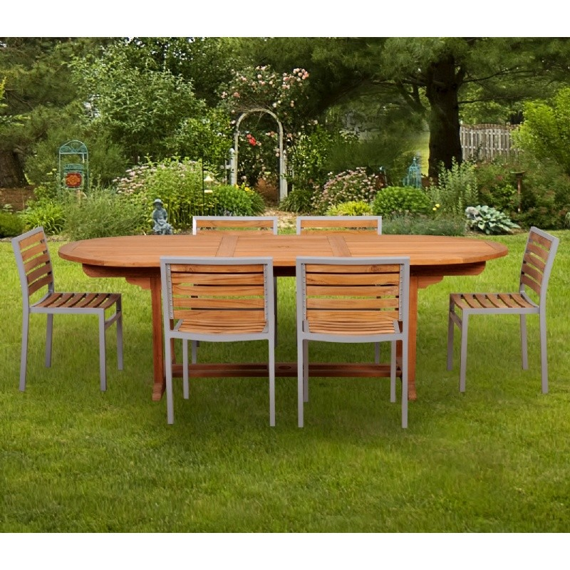 Modern Teak Aluminum Patio Dining Set 7 Piece with 96 inch Table