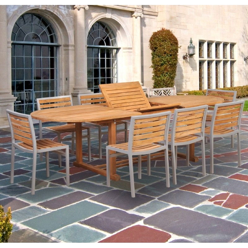 Teak Patio Tables on Modern Teak Aluminum Patio Dining Set 9 Piece With 96 Inch Table Ca