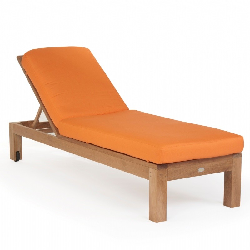 Modern Teak Patio Chaise Lounge