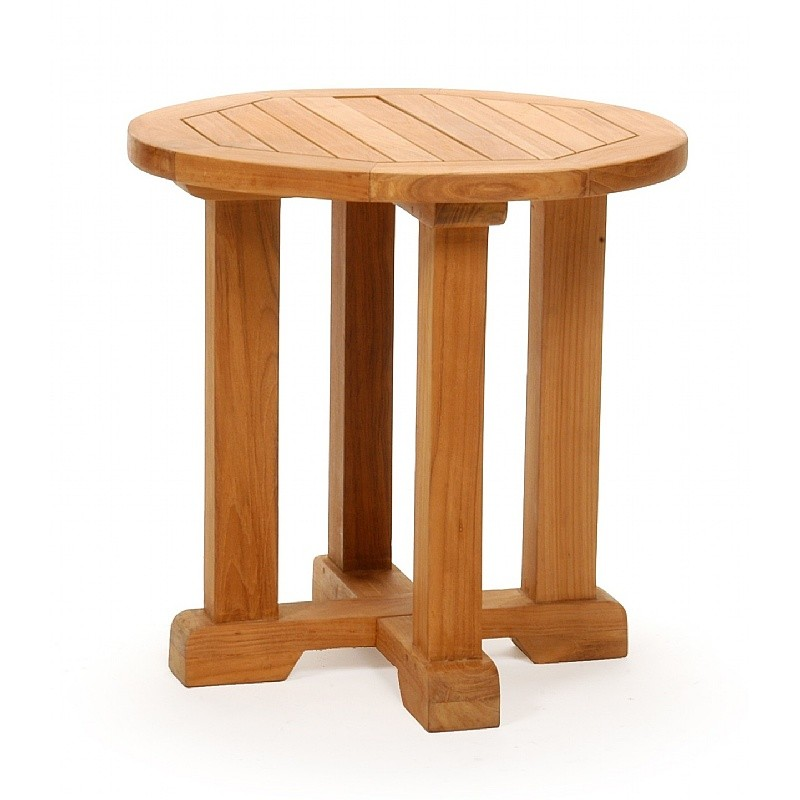 Modern teak patio club side table round 24 inch ca 50114 for Table chaise moderne