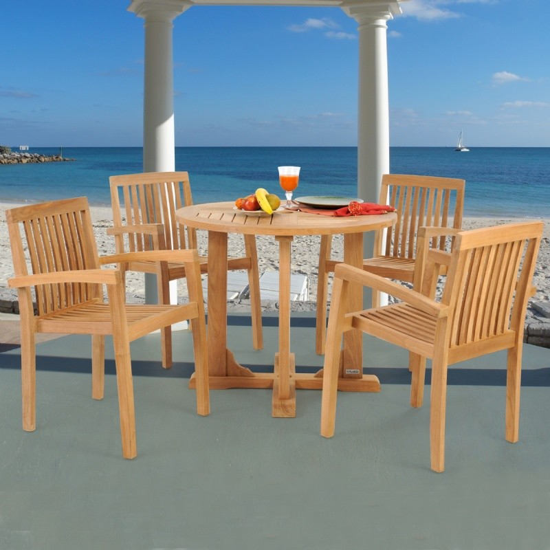 Modern Teak Patio Dining Set 5 Piece with 36 inch Table w/ Cushions