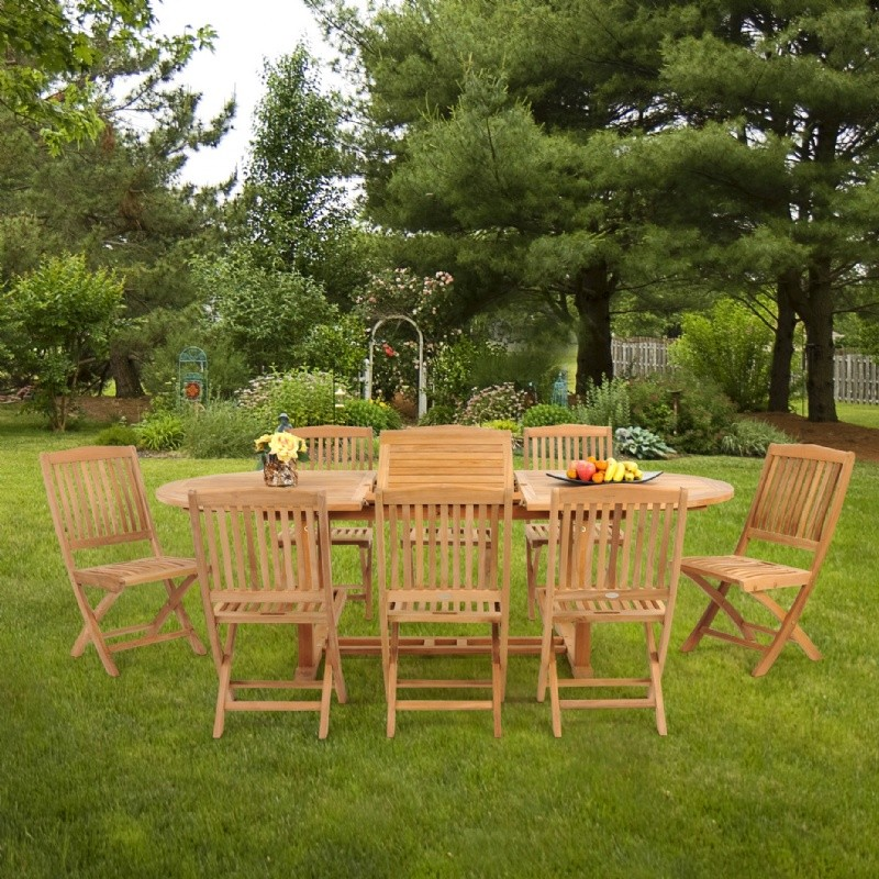 Modern Teak Patio Dining Set 9 Piece with Folding Chairs w/ Cushions