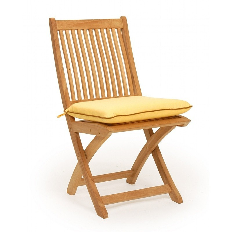 Outdoor Folding Dish Chair: Caluco Teak Outdoor Folding Dining Chair with Cushion
