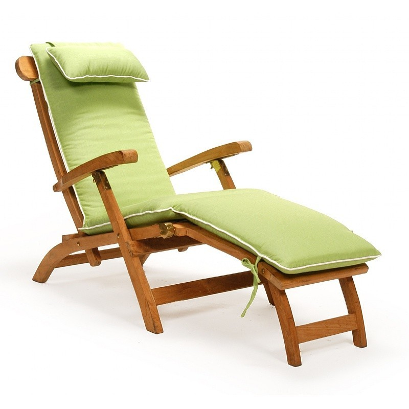Plastic Outdoor Lounge Chairs: Caluco Teak Steamer Chaise with Cushion