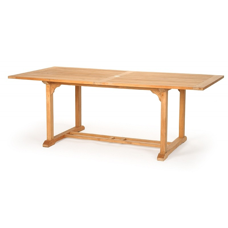 Modern Teak Rectangle Patio Dining Table Extending 60-96 CA-50144 | PatioTablesMart.com