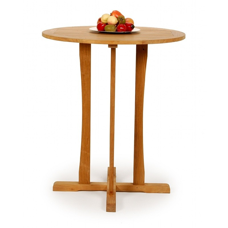 Modern Teak Round Bar Height Bistro Table 36 inch