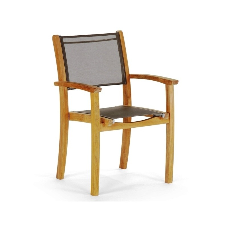 Modern Teak Sling Patio Dining Arm Chair Ca 50172 Cozydays