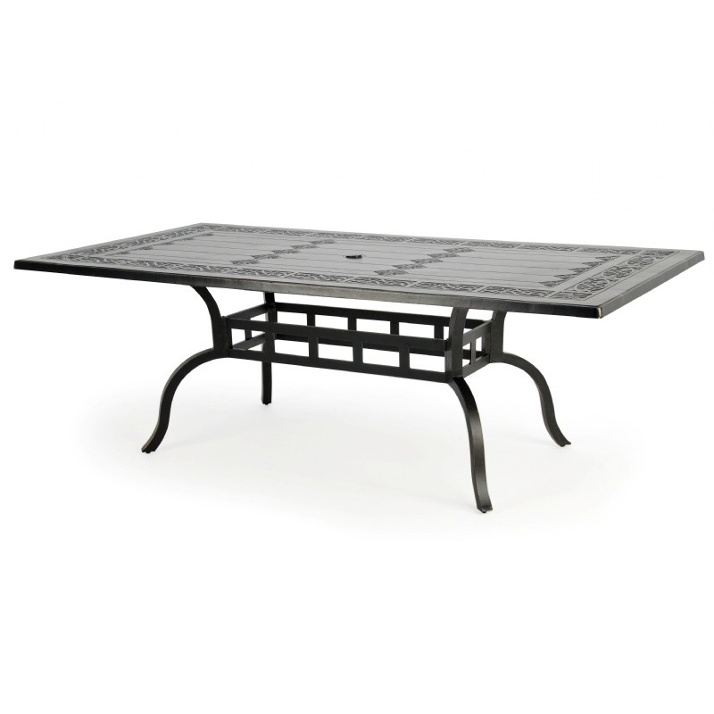 Novara Cast Aluminum Rectangle Patio Dining Table 86 Inch CA 704C 86 CozyDays