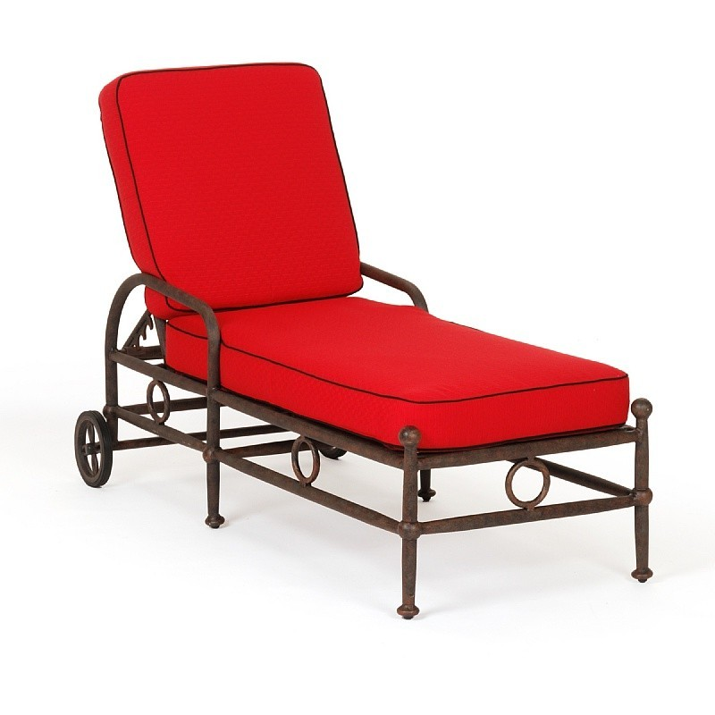 Aluminum Patio Chaise Lounges: Caluco Origin Cast Aluminum Patio Chaise Lounge with Cushion