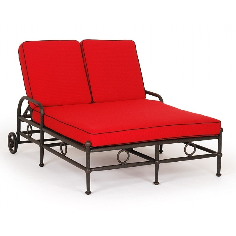 Caluco origin cast aluminum outdoor double chaise lounge for Aluminum outdoor chaise lounge