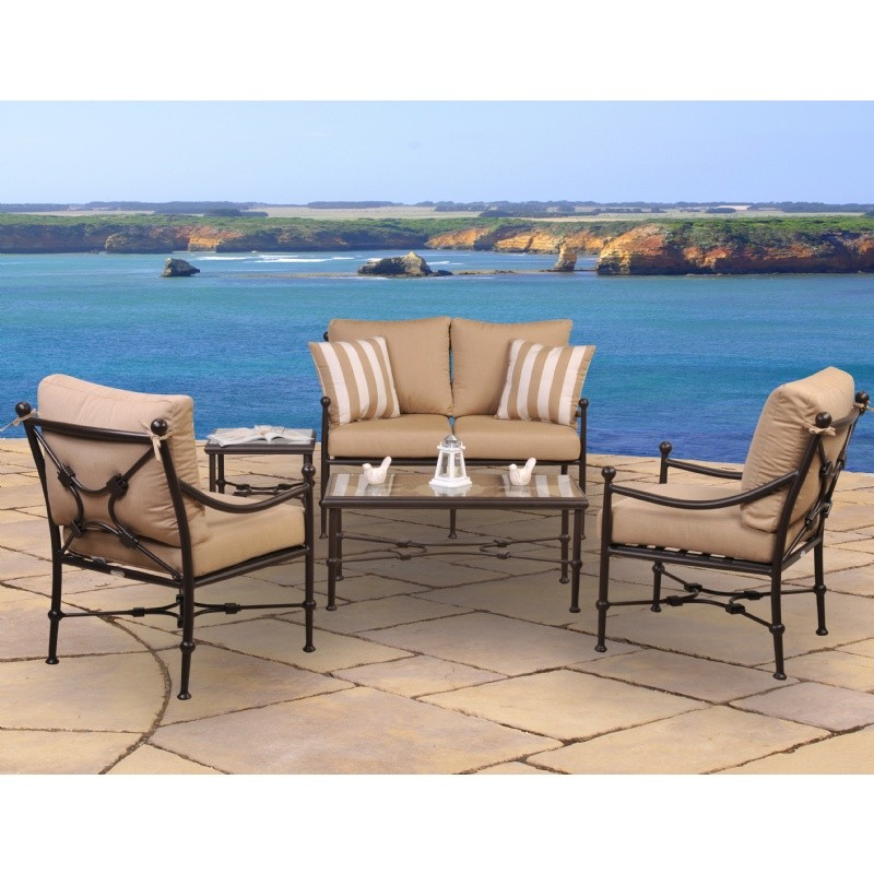 Outdoor Furniture: Outdoor Deep Seating Sets: Origin Cast Aluminum Patio Club Seating Group Rectangle 5 pcs