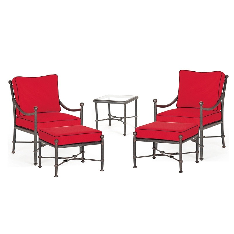 Origin Cast Aluminum Patio Club Seating Lounge Group 5 pcs - CA-888-DEEP4