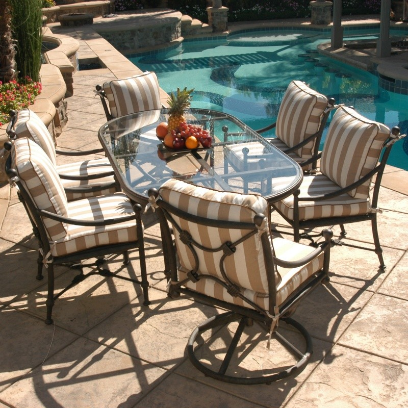 Origin Cast Aluminum Patio Dining Group Oval 4/2 Swivel 7 pc. : Patio Sets