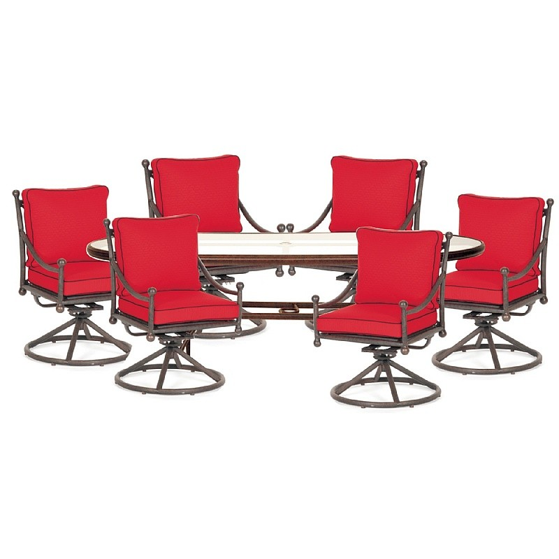 Patio Furniture Clearance: Origin Cast Aluminum Patio Dining Group Oval Swivel 7 pc.