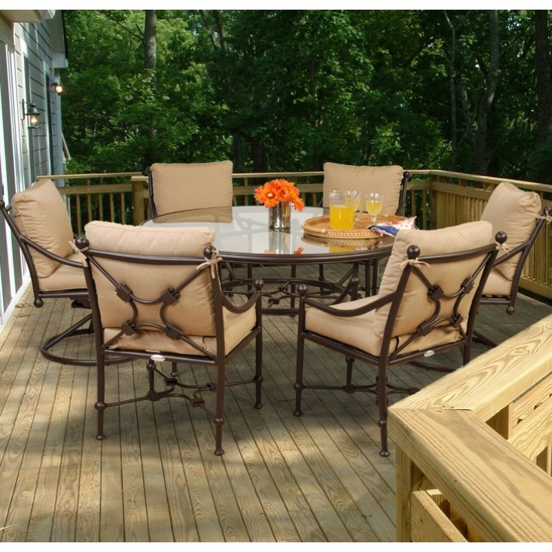 Origin Cast Aluminum Patio Dining Group Round 7 pc. 2 Swivel