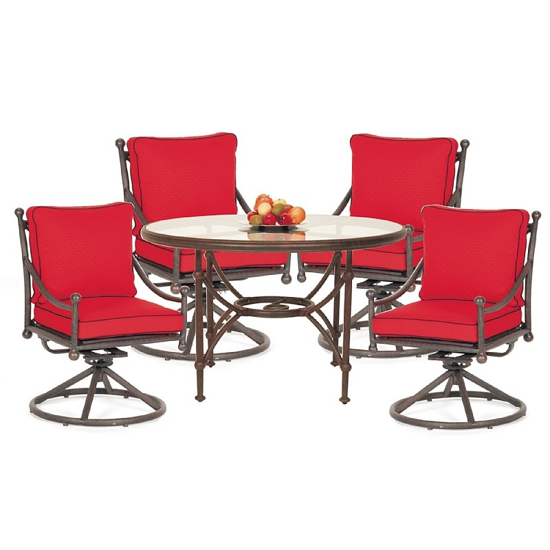 Origin Cast Aluminum Patio Dining Group Round Swivel 5 pc.