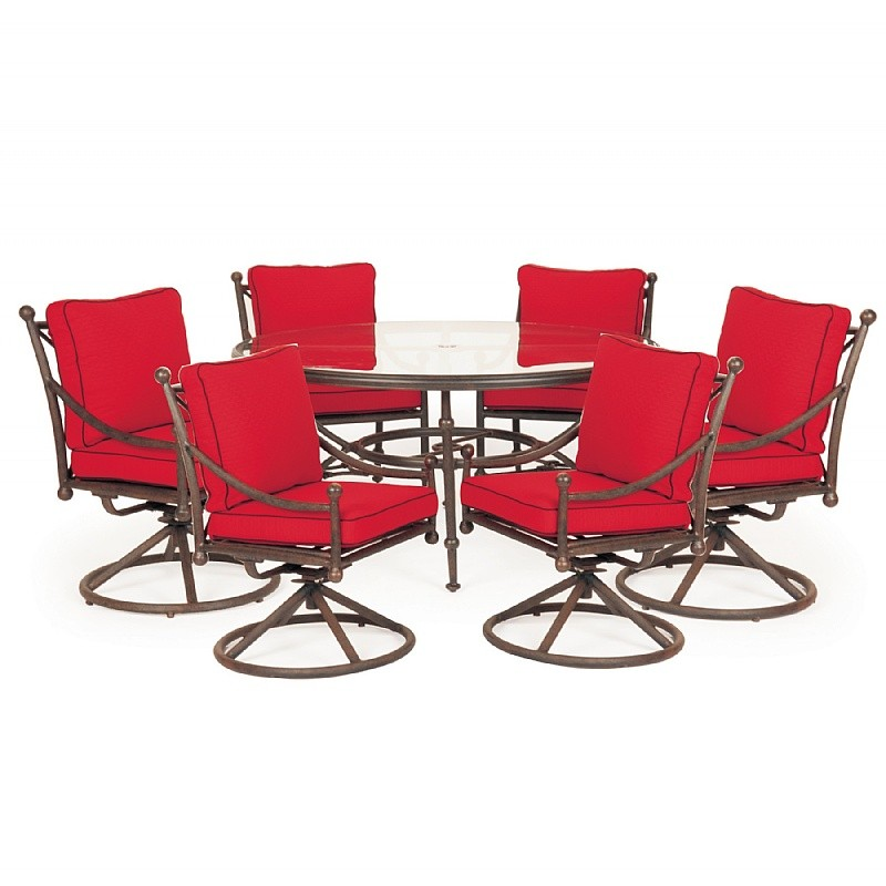 Patio Furniture Clearance: Origin Cast Aluminum Patio Dining Group Round Swivel 7 pc.