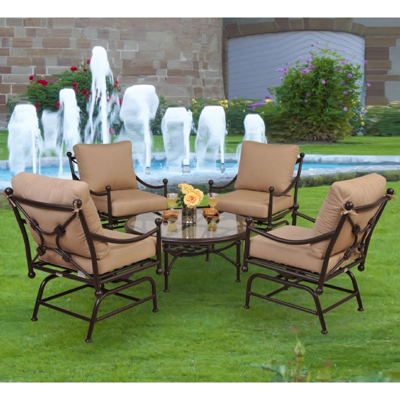 Origin Cast Aluminum Patio Rocker Seating Group 5 pcs