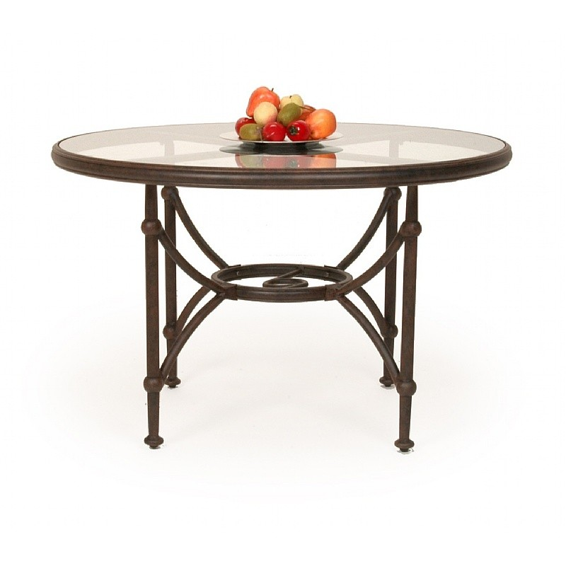 Origin round patio dining table 48 inch with glass top ca for Glass top outdoor dining table