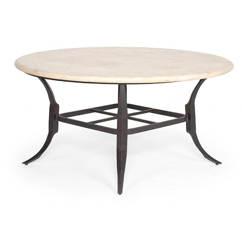 Paris contemporary cast aluminum round dining table stone for Round stone top dining table