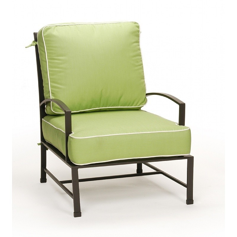 Folding Lawn Chairs with Higher Seat: Caluco San Michelle Outdoor Lounge Chair with Cushion
