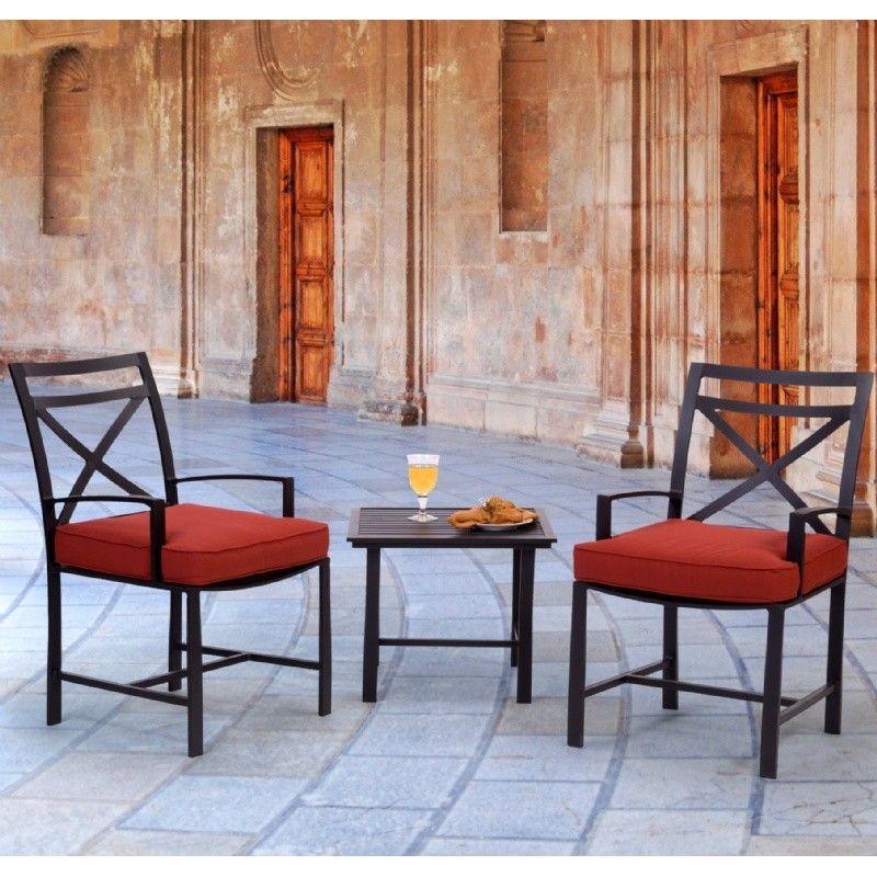 San Michelle Cast Aluminum Garden Chat Set 3 Piece : Patio Sets