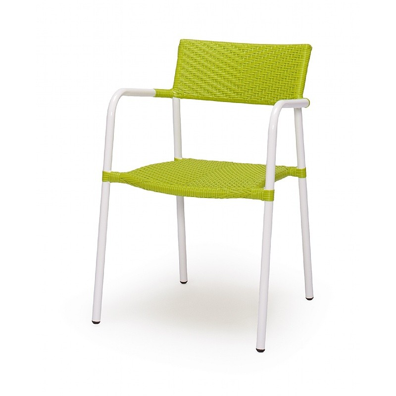 White Metal Patio Chairs: Caluco Terry Stacking Outdoor Dining Chair